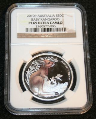 2010p Australia S50c Baby Kangaroo.  999 Fine Silver 1/2 Ounce Ngc Graded Coin photo