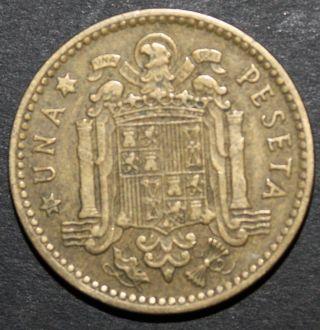 1953 Spain 1 Peseta Coin - Una Peseta photo