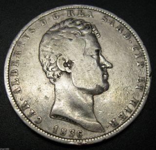 Italy State Sardinia 5 Lire Silver Coin 1836 P Km 130.  2 Carlo Alberto 37mm photo