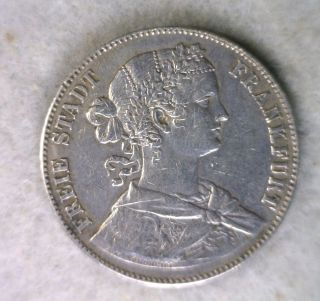 German States Frankfurt Thaler 1860 Very Fine Silver Germany Coin photo