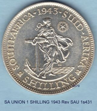 South Africa 1943 1 Shilling Almost Unc Sau 1s431 photo