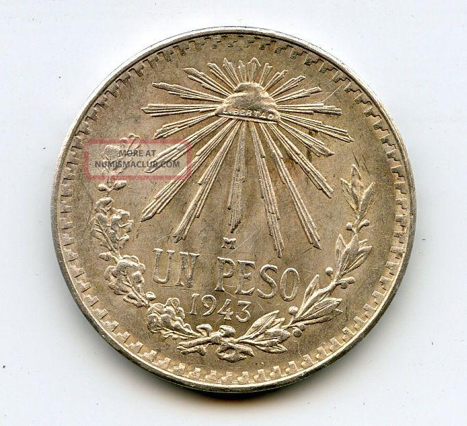 1943 1 Un Peso Silver Coin 3 0 720