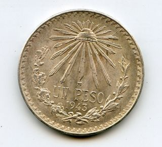 1943 1 Un Peso Silver Coin 3 0.  720 photo