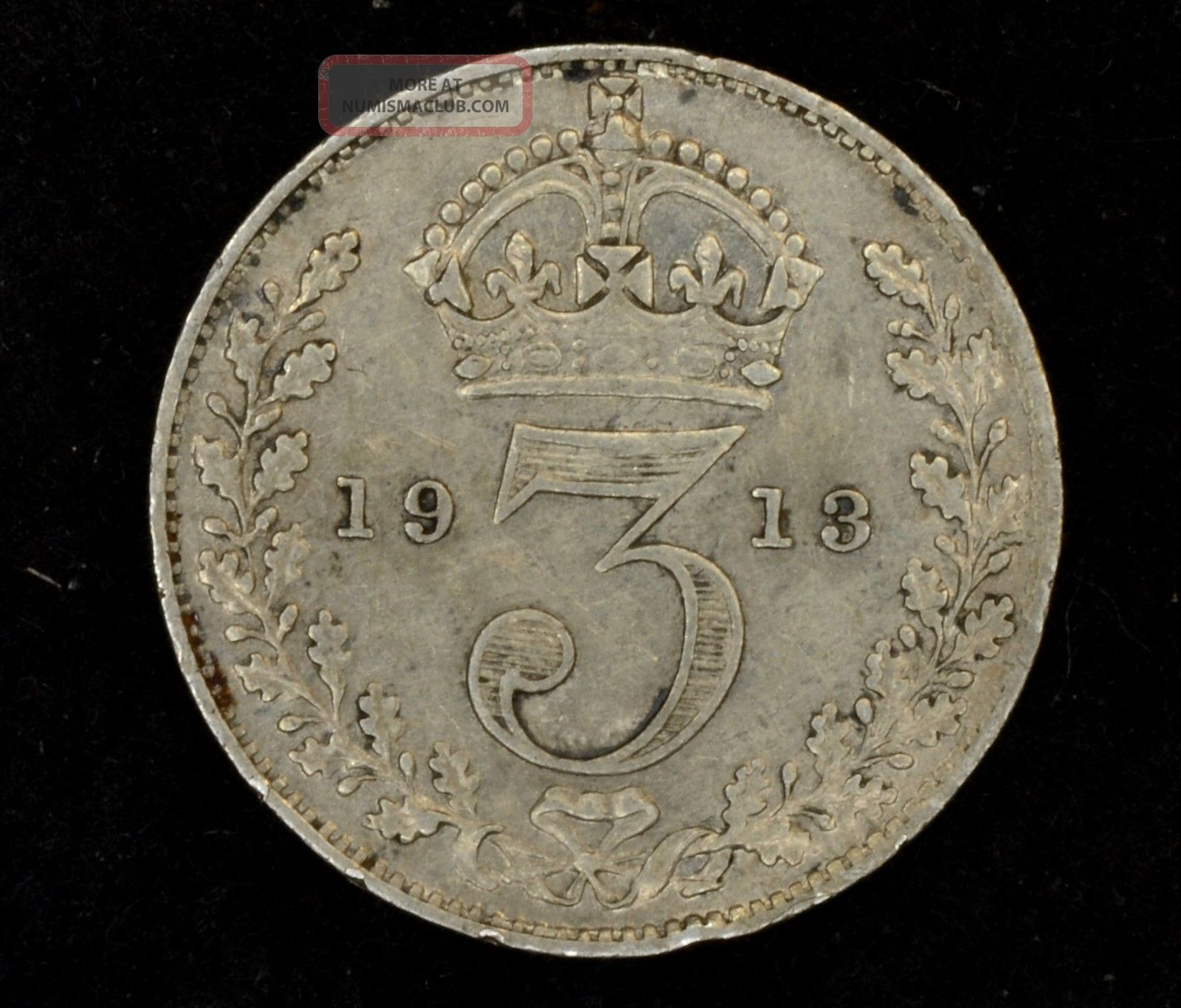 1913 Great Britain Threepence Unc Km 813.  925 Fine Silver 349 UK (Great Britain) photo