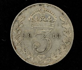 1913 Great Britain Threepence Unc Km 813.  925 Fine Silver 349 photo