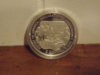 History Of America Series - 2000 Liberia Declaration Of Independence Coin photo