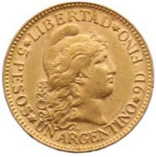 Argentina 5 Pesos Km 6 Xf/au Glod Coin 1887 photo