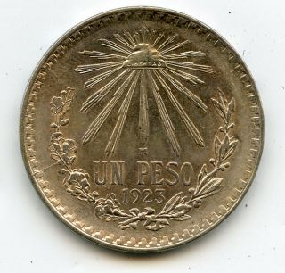 1923 1 Un Peso Silver Coin 0.  720 Mexico photo