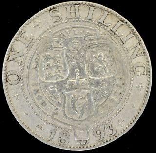 1893 Great Britain Shilling - Victoria.  925 Silver Coin - Vf 354 photo