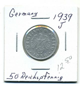 Germany 50 Reichspfennig 1939 - J,  Fine photo