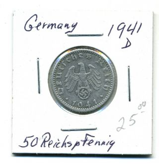Germany 50 Reichspfennig 1941 - D,  Xf photo