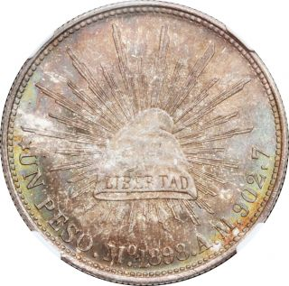 Mexico 1 Peso Mo 1898 A.  M.  Mexico,  Ngc Ms65; Gorgeous Colors Restrike. photo