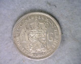 Netherlands 1 Gulden 1914 Vf/xf Silver Coin photo