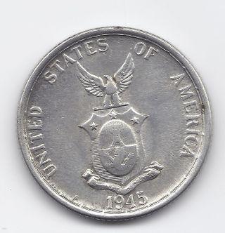 Us Philippines 1945 S Silver Half Dollar 90% Silver Half Dollar Ww2 Usa Minted photo