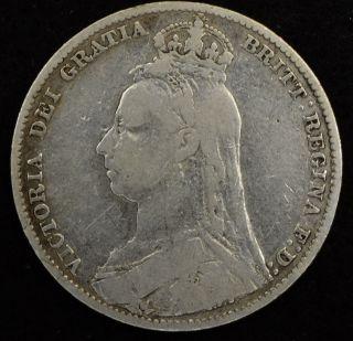 1889 Great Britain Shilling - Km 774 Silver Coin - Fast 353 photo