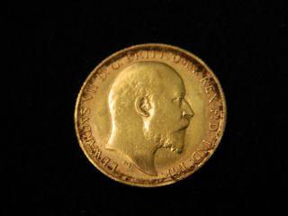 1910 S Gold Australia King Edward Vii Half Sovereign Gold Coin photo