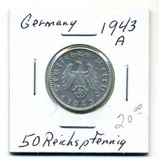Germany 50 Reichspfennig 1943 - A,  Au photo