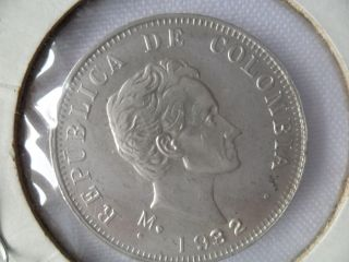 Colombia Coin 50 Centavos 1934 Silver Cat 133 Xf photo