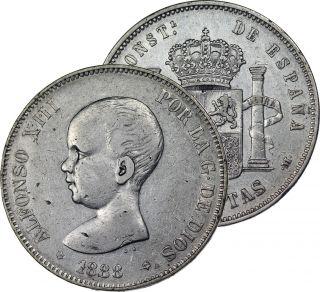 1888 Spain 5 Pesetas Silver Coin photo