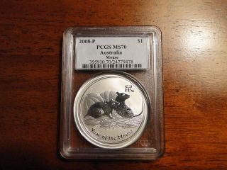 2008 Ms 70 Pcgs Lunar Mouse 1 Ounce Silver photo