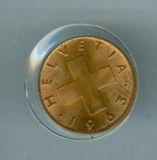 1963 - B Switzerland Red Cent Finest Grade State. photo