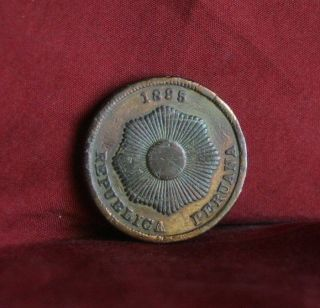 1895 Peru 2 Centavos World Coin Km188.  2 Radiant Sun Star Dos Cents Peruana photo