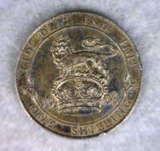 Great Britain Shilling 1906 Extra Fine British Silver Coin photo