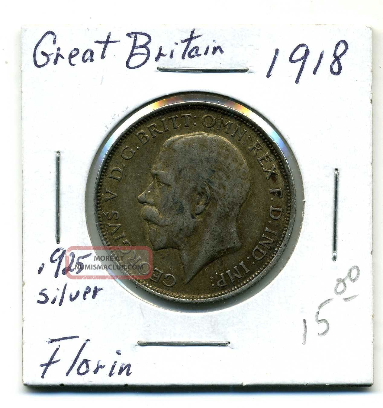 Great Briatain Florin 1918, .  925 Silver,  Very Fine UK (Great Britain) photo