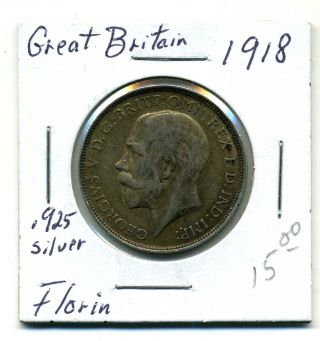 Great Briatain Florin 1918, .  925 Silver,  Very Fine photo