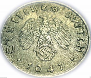 ♡ Germany - German 3rd Reich 1941e 10 Reichspfennig - Real Ww2 Coin With Swastika photo