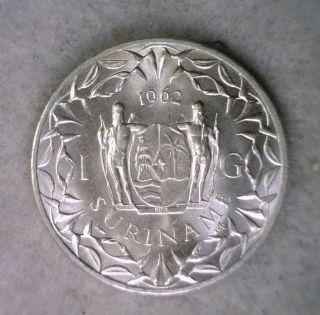 Suriname Gulden 1962 Bu Silver Netherlands Coin photo