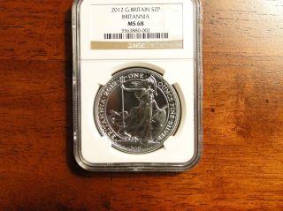 Ngc Ms 68 2012 One Ounce Silver Britannia photo