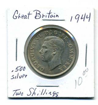 Great Briatain Two Shillings 1944, .  500 Silver,  Xf+ photo