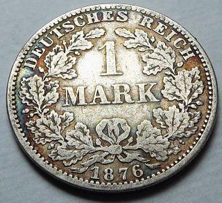 Germany Empire 1876 - A 1 Mark +patina Vf Silver  c3667 photo