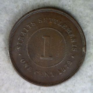 Straits Settlements 1 Cent 1872 H Coin photo