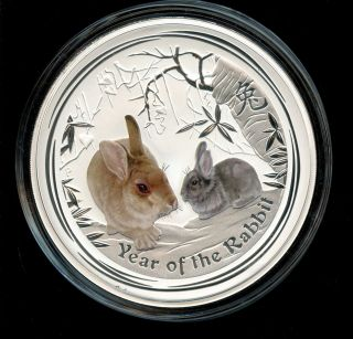 2011 32.  15 Oz Kilo Silver Australian Year Of Rabbit Colorized - Perth photo