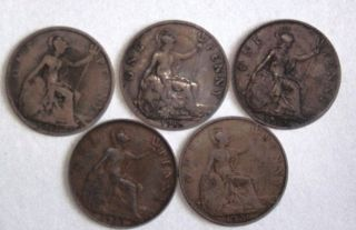 British 1917,  1918,  1919,  1920 And 1921 One Penny photo