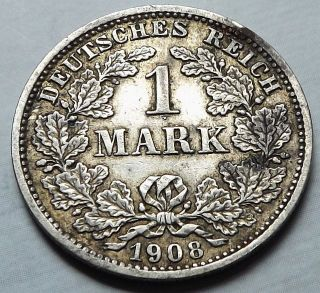 Germany Empire 1908 - D 1 Mark +patina Vf Silver |c3668 photo