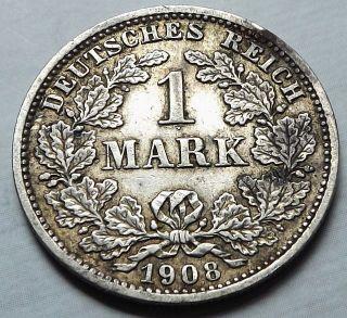Germany Empire 1908 - D 1 Mark +patina Vf Silver |c3668 photo