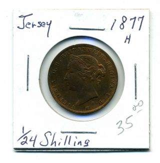Jersey 1/24th Shilling,  1877 - H,  Au photo