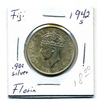 Fiji Florin 1942 - S, .  900 Silver,  Au photo