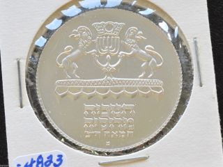 1972 Israel 5 Lirot Silver Proof Coin Hanukkah D4810 photo