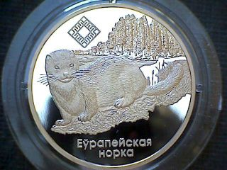 Belarus 2006 Rouble,  Wildlife,  European Mink,  Proof In Capsule,  Cu - Ni photo