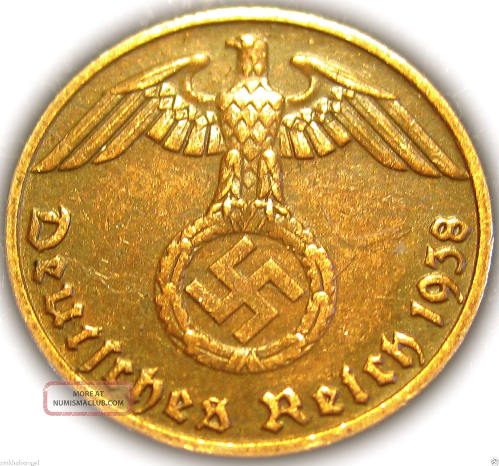 ♡ German 3rd Reich 1938e Rp Coin W/ Swastika - Nazi Germany Ww 2 - Rare Coin Germany photo