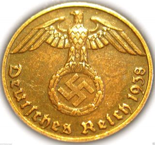♡ German 3rd Reich 1938e Rp Coin W/ Swastika - Nazi Germany Ww 2 - Rare Coin photo