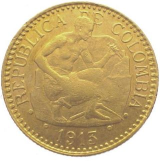 Colombia 2 1/2 Pesos Km 194 Vf+ Gold Coin Republica 1913 photo