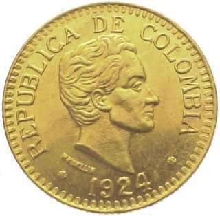 Colombia 2 1/2 Pesos Km 203 Au/unc Gold Coin S.  Bolivar 1924 photo
