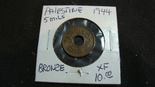 1944 Palestine 5 Mils Bronze Coin photo