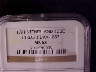 Utrecht Silver Rider Or Ducaton 1791 Ngc Ms 63 photo