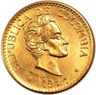 Colombia 5 Pesos Km 204 Au/unc Gold Coin S.  Bolivar 1927 photo